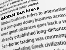 3d, definition of the word Global Business on white paper. Stock Photography