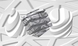 3D dekorativa diagram av en kub, triangel och med en marmortextur Marmorsten abstrakt vektorillustration stock illustrationer