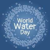 D?a del agua del mundo Las burbujas azules subacu?ticas enrruellan la postal libre illustration
