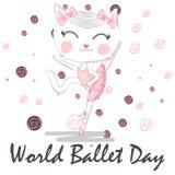 D?a del ballet del mundo, octubre Chica joven que realiza la danza del ballet conceptual libre illustration