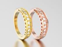 3D del oro amarillo del ejemplo dos diverso anillo de diamante decorativo y color de rosa con el ornamento de los corazones libre illustration