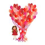 D?a del ` s de la tarjeta del d?a de San Valent?n de la postal Muchacha con los globos en forma de coraz?n stock de ilustración