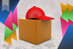 3d delivery box with cap illustration Stock Images