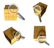 3D Delivery box with the magnifying glass icon. 3D Icon Design S Stock Photos