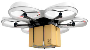 3d delivery drone with a package Royalty Free Stock Photos
