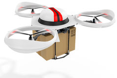 3d delivery drone with a package Stock Photography