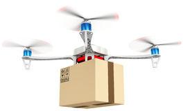 3d delivery drone with a package Stock Image