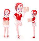 3d delivery girl toon isolated Royalty Free Stock Photos