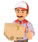 3D Delivery man with a box Stock Photography