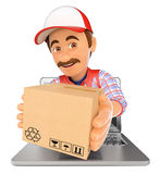 3D Delivery man coming out a laptop screen with a package. 3d working people illustration. Delivery man coming out a laptop screen with a package. Isolated white Stock Photo