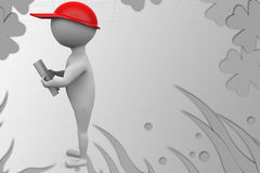 3d delivery man with note illustration Royalty Free Stock Photos