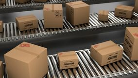 3D delivery paper boxes and cardboxes are moving on conveyor belt for loop