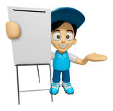 3D Delivery Service Man Mascot is concise explanation of a white Royalty Free Stock Image