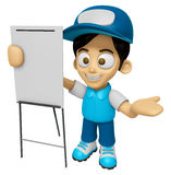 3D Delivery Service Man Mascot is concise explanation of a white Stock Photo