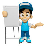 3D Delivery Service Man Mascot is concise explanation of a white Stock Photography