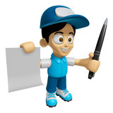 3D Delivery Service Man Mascot hand is holding a Document and ba Stock Images