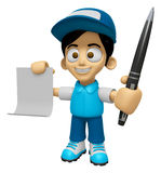3D Delivery Service Man Mascot hand is holding a Document and ba Royalty Free Stock Photography
