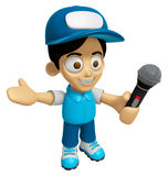 3D Delivery Service Man Mascot the hand is holding a Microphone. Royalty Free Stock Photography
