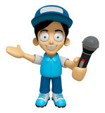 3D Delivery Service Man Mascot the hand is holding a Microphone. Stock Photo