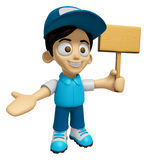 3D Delivery Service Man Mascot the hand is holding a picket. Wor Stock Photos