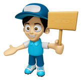 3D Delivery Service Man Mascot the hand is holding a picket. Wor Royalty Free Stock Photos