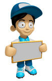 3D Delivery Service Man Mascot holding a big board with both han Royalty Free Stock Photos