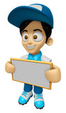 3D Delivery Service Man Mascot holding a big board with both han Royalty Free Stock Image