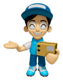 3D Delivery Service Man Mascot is Kindly courier holding the box Royalty Free Stock Image