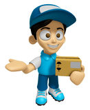 3D Delivery Service Man Mascot is Kindly courier holding the box Stock Image