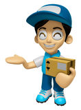 3D Delivery Service Man Mascot is Kindly courier holding the box Stock Photos