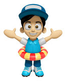 3D Delivery Service Man Mascot is played in the pool on a tube. Royalty Free Stock Image