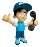 3D Delivery Service Man Mascot Please call me today. Work and Jo Stock Images