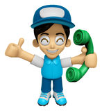 3D Delivery Service Man Mascot Please call me today. Work and Jo Royalty Free Stock Images