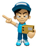 3D Delivery Service Man Mascot is points a finger one direction. Stock Photos