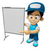 3D Delivery Service Man Mascot is presentation in front of the a Royalty Free Stock Photography