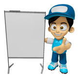 3D Delivery Service Man Mascot is presentation in front of the a Stock Photos