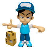 3D Delivery Service Man Mascot is rap out a complaint. Work and Royalty Free Stock Photo