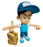 3D Delivery Service Man Mascot is rap out a complaint. Work and Royalty Free Stock Photography