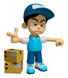 3D Delivery Service Man Mascot is rap out a complaint. Work and Stock Photography