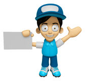 3D Delivery Service Man Mascot the right hand guides and the lef Royalty Free Stock Images