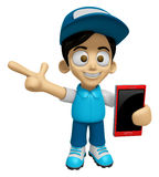 3D Delivery Service Man Mascot the right hand guides and the lef Royalty Free Stock Photo