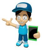3D Delivery Service Man Mascot the right hand guides and the lef Stock Photos