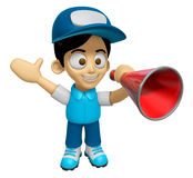3D Delivery Service Man Mascot is speakn through a megaphone. Wo Stock Photography