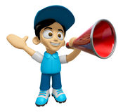 3D Delivery Service Man Mascot is speakn through a megaphone. Wo Royalty Free Stock Photography