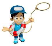 3D Delivery Service Man Mascot is throwing a Life rope. Work and Stock Images