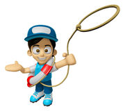 3D Delivery Service Man Mascot is throwing a Life rope. Work and Stock Photography