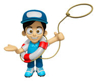 3D Delivery Service Man Mascot is throwing a Life rope. Work and Royalty Free Stock Photos
