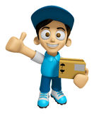 3D Delivery Service Man Mascot is to provide the best service. W Royalty Free Stock Photos