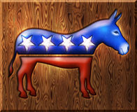 3D Democrat Donkey Diamond Wood Symbol Stock Photography