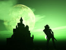 3D demon with spooky castle Royalty Free Stock Photo